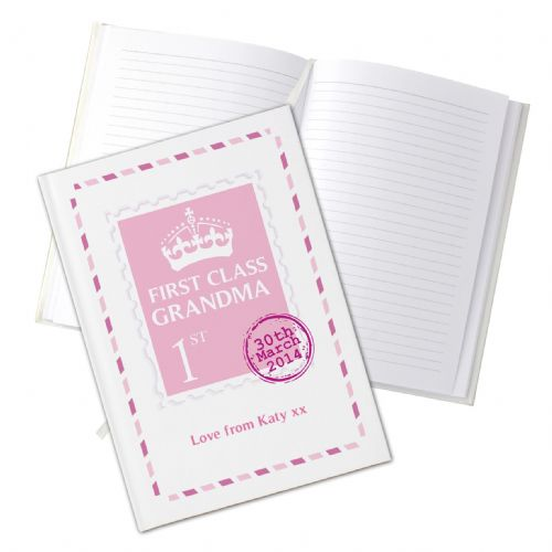 Personalised Pink 1st Class Hardback Notebook